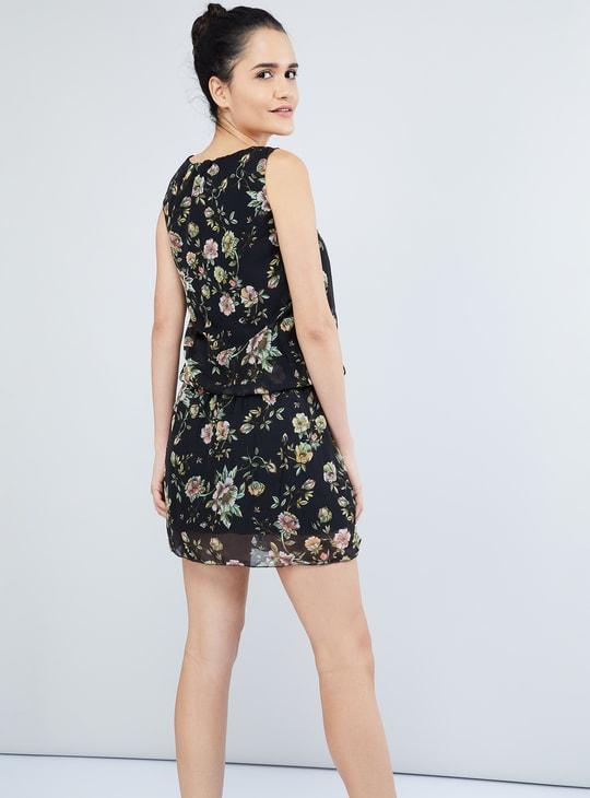 MAX Floral Print Sleeveless Blouson Dress