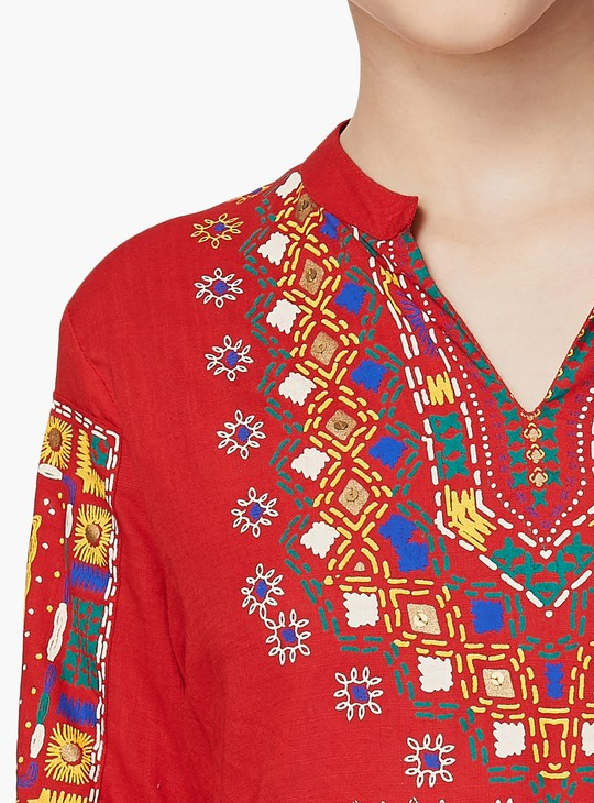 MAX Open Collar Printed Blouse Top
