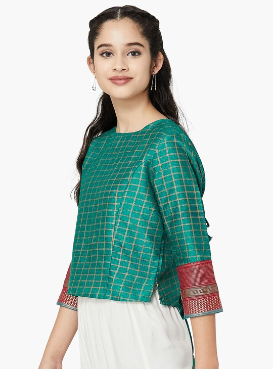 MAX Checked Tie-Up Back Blouse
