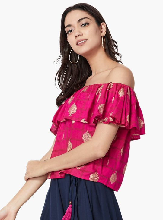 MAX Printed Ruffle off-Shoulder Top