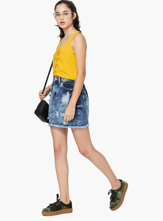 MAX Fringed Denim Straight Skirt