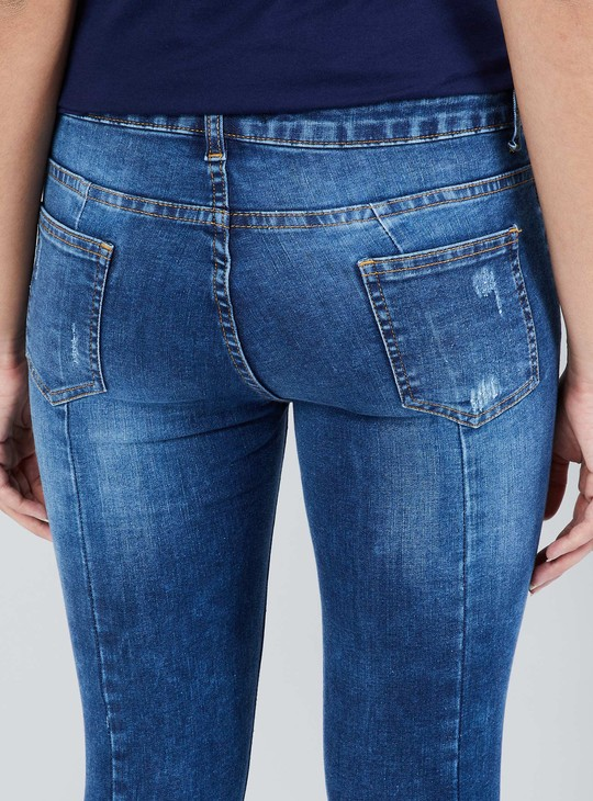 MAX Low Rise Skinny Fit Distressed Jeans