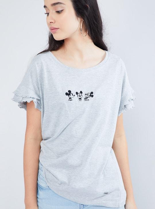 MAX Melange Mickey Print Ruffled-Sleeve Top