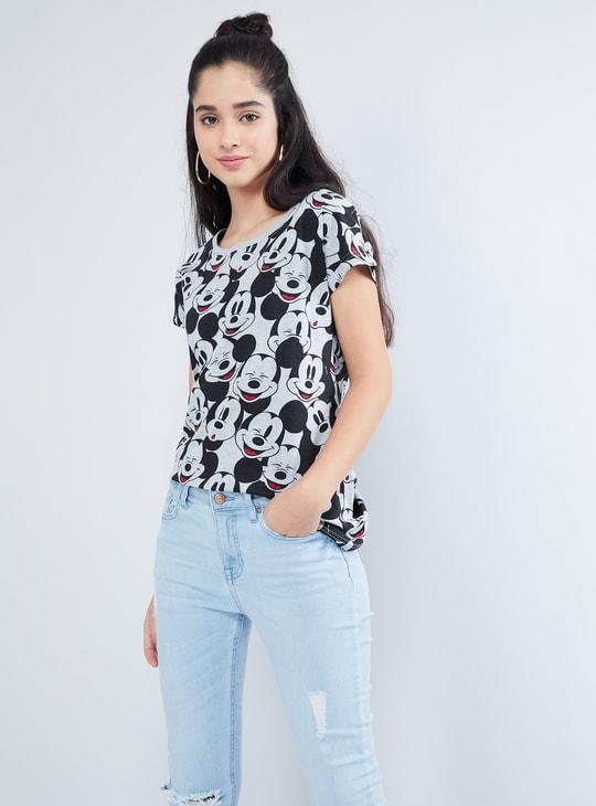 MAX Melange Mickey Print Extended Sleeve T-Shirt