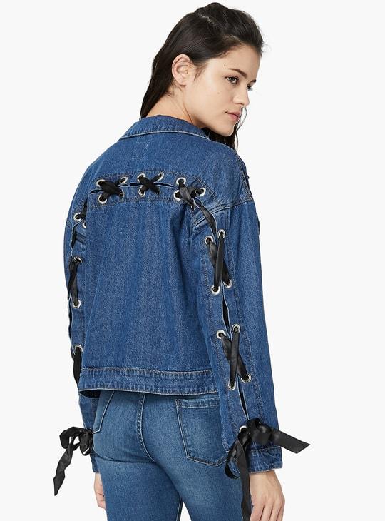 MAX Lace-Up Denim Jacket
