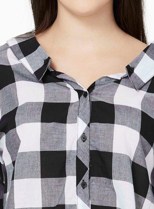 MAX Checkered Tie-Up Sleeves Shirt