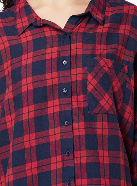 MAX Plaid Checks Three-Fourth Sleeves Shirt