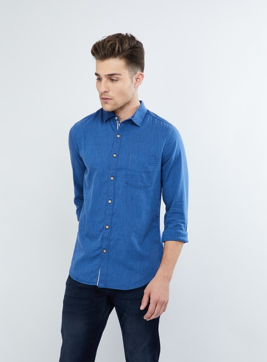 MAX Solid Rolled-up Sleeve Shirt