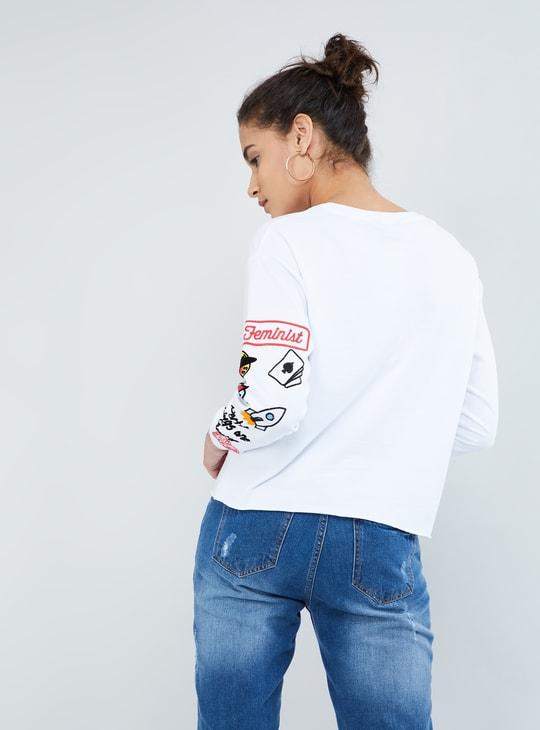 MAX Applique Patch Drop Shoulder Long-Sleeve Sweatshirt
