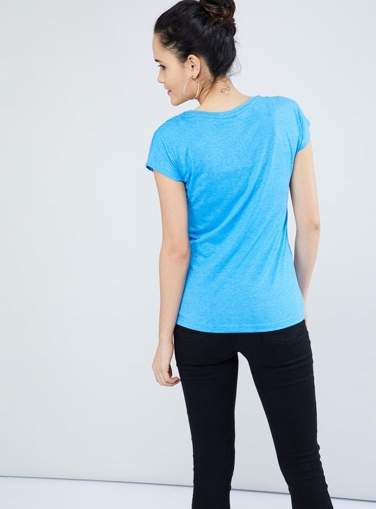 MAX Printed Melange Extended Sleeve T-shirt