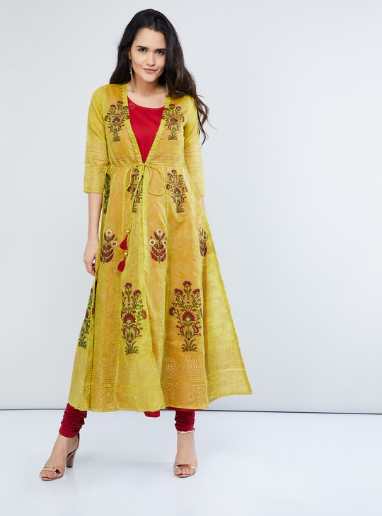 MAX Front Tie-Up Floral Print Layered Kurta