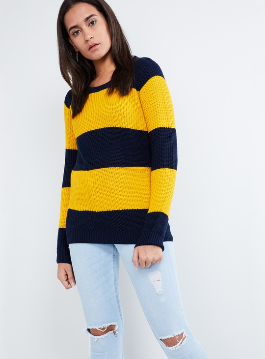 MAX Striped Rib Knit Full Sleeve Sweater
