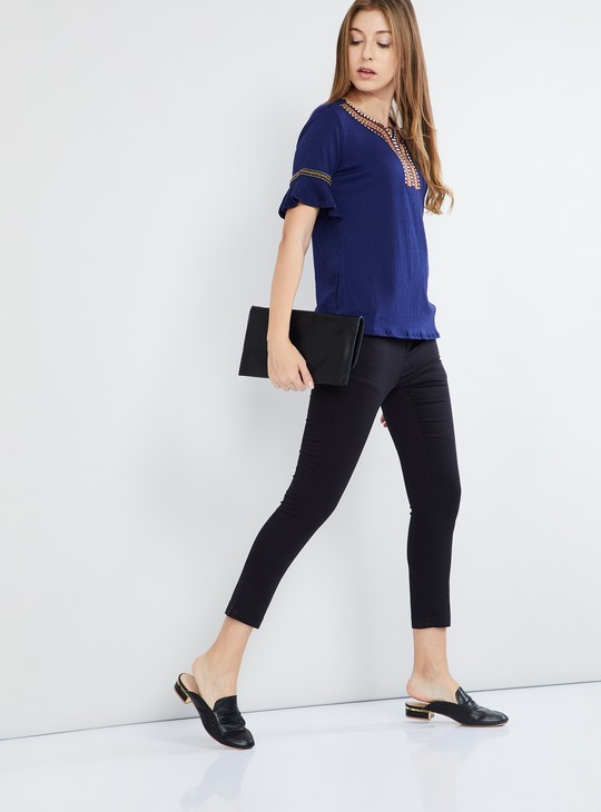 MAX Bell Sleeves Embroidered Top