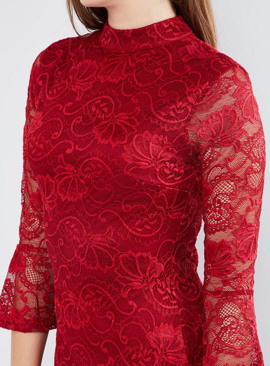 MAX Lacy Raised Collar Bodycon Dress