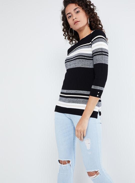 MAX Striped Vented Hem Flat Knit Top