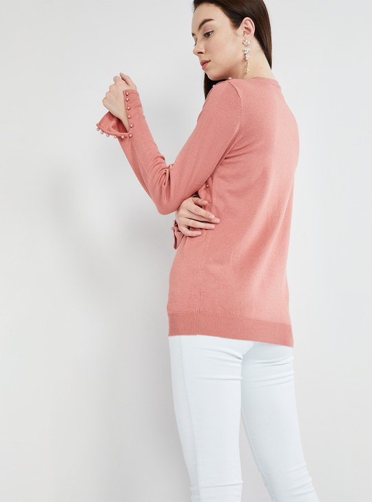 MAX Pearly Bead Full Sleeve Flat Knit Top