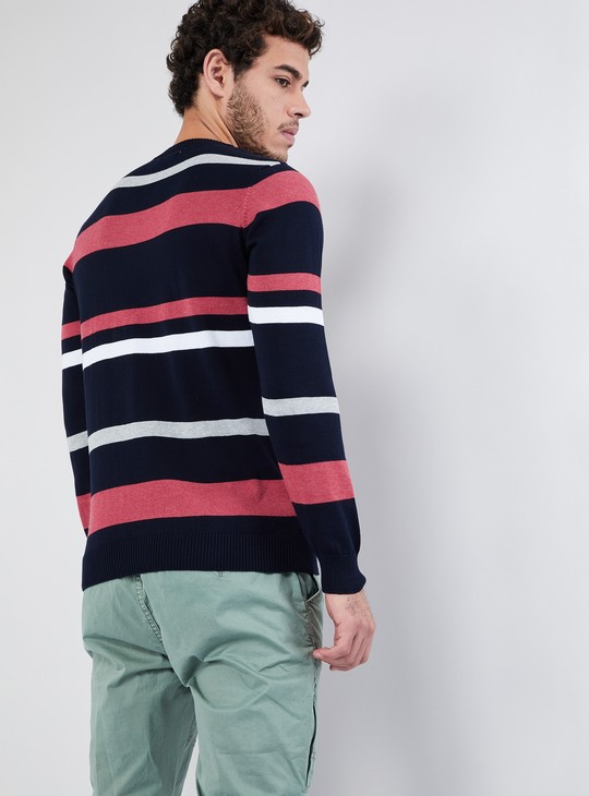 MAX Striped Pullover with Ribbed Hems