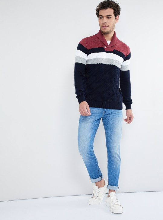 MAX Striped Long-Sleeve Sweater with Shawl Collar