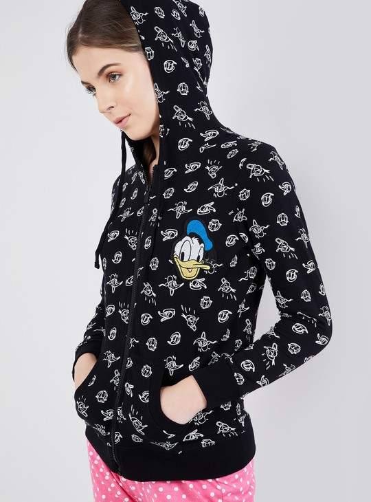 MAX All-Over Donald Print Zip-up Hooded Jacket