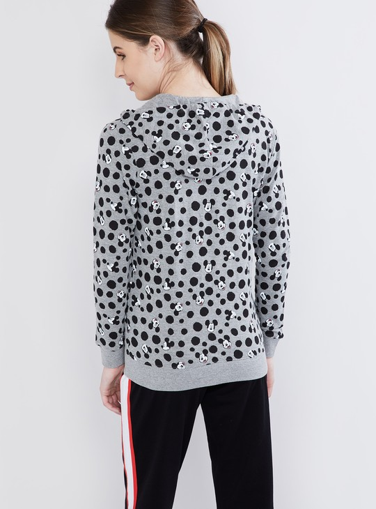 MAX All-Over Mickey Print Zip-up Hooded Jacket