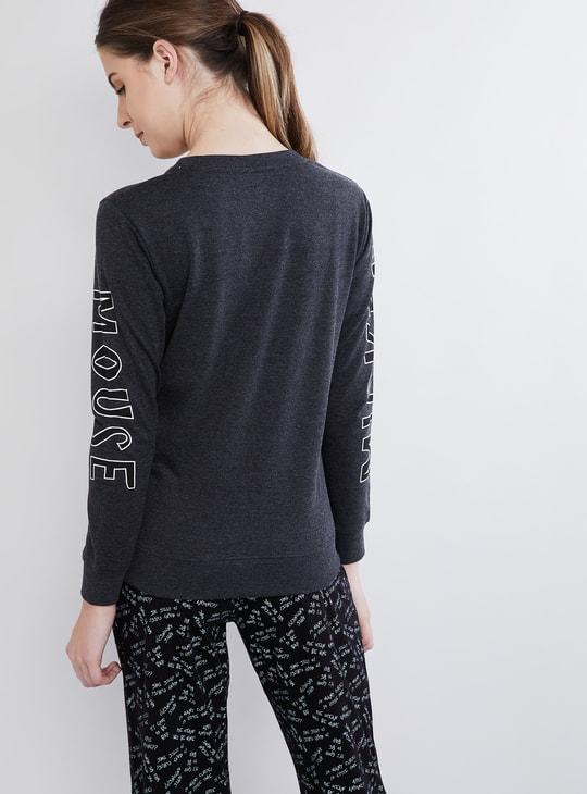 MAX Mickey Print Long Sleeve Sweatshirt