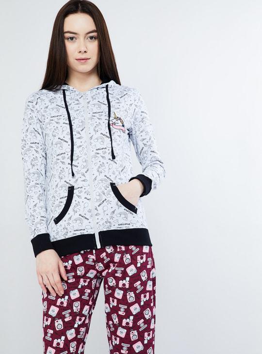 MAX Printed Zip-Up Hooded Sweatshirt