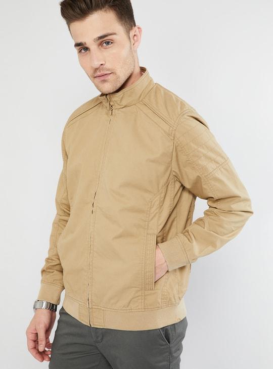 MAX Solid Band Collar Zip-Up Jacket