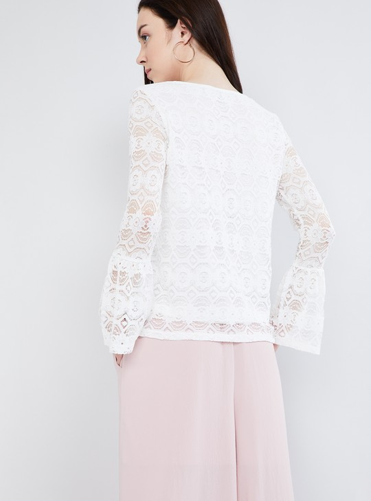 MAX Lace Overlay Bell Sleeves Top