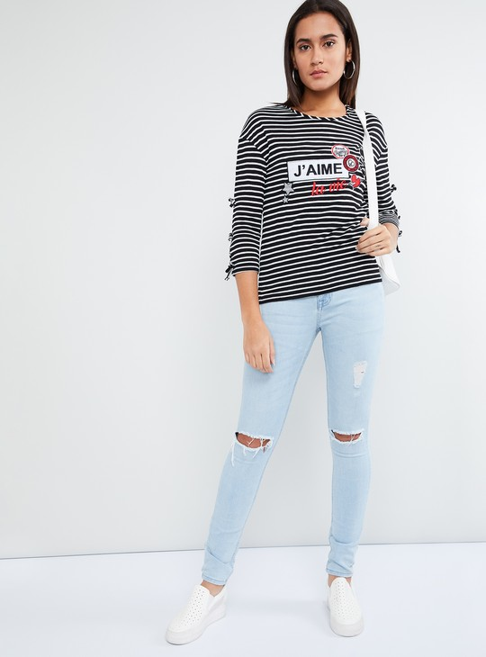 MAX Graphic Applique Tie-Up Sleeves Striped T-shirt