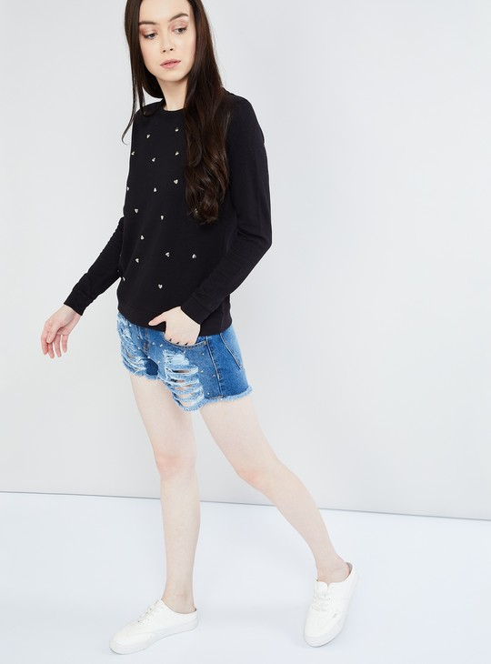 MAX Kitty Print Full Sleeves Knitted Top