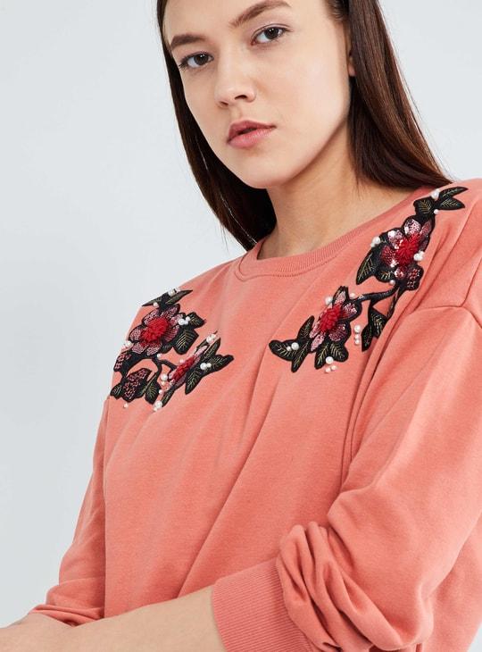 MAX Typographic Print Embellished Sweatshirt