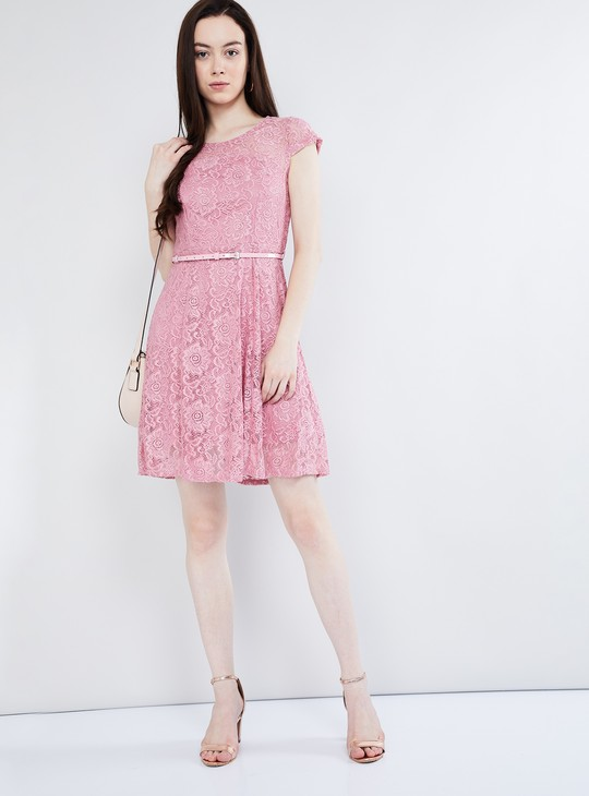 MAX Floral Lace Overlay Dress with Belt