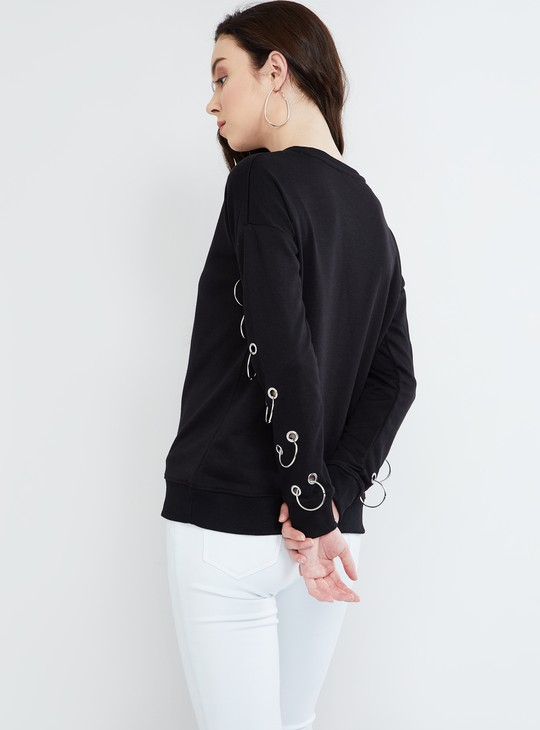 MAX Lace-Up Sleeves Solid T-shirt