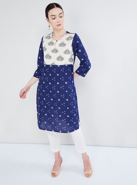 MAX Printed Three-Quarter Sleeve Straight Kurta