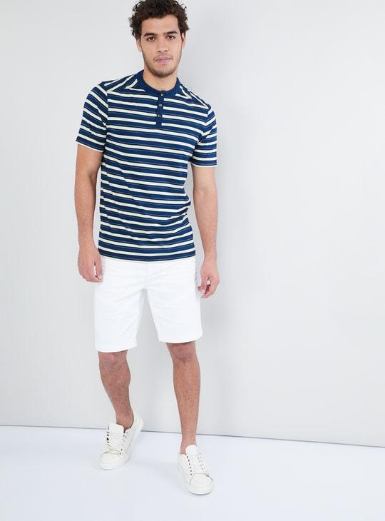 MAX Striped Short Sleeve Henley T-shirt