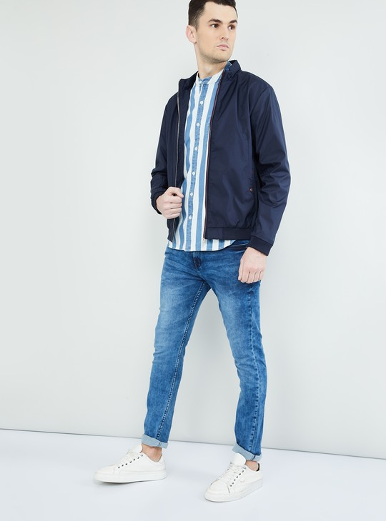 MAX Solid Band Collared Zip-Up Jacket