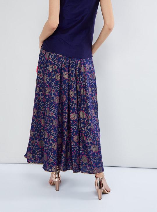 MAX Printed Flared Maxi Skirt
