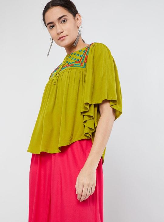 MAX Embroidered Tassel-Neck Kaftan Top