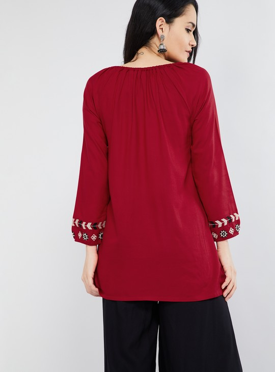 MAX Floral Embroidery Tasselled Tie-Up Tunic