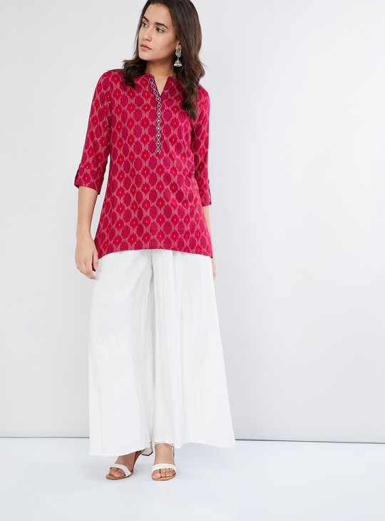 MAX Rolled-Up Sleeve Printed Tunic