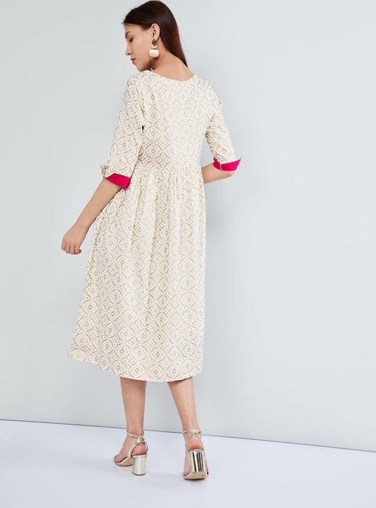 MAX Block Print Rolled-up Sleeve Midi Dress