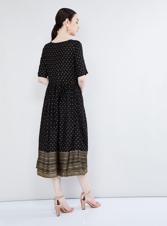MAX Foil Print Midi Dress
