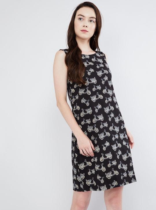 MAX Scooter Print Shift Dress