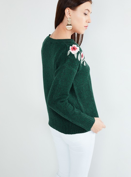 MAX Floral Applique Full Sleeves Pullover