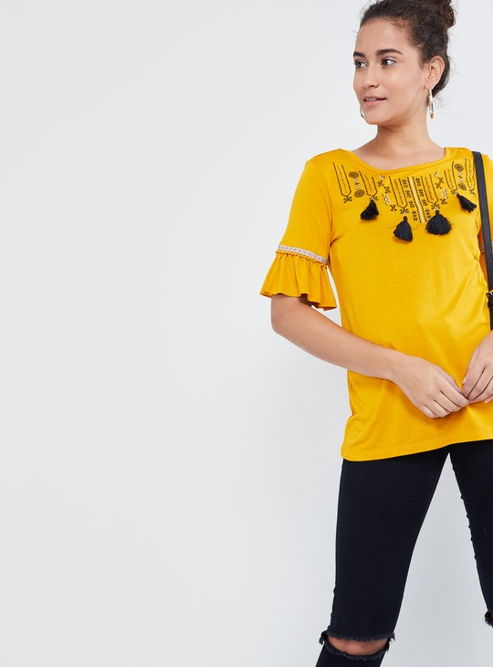 MAX Tasselled Bell Sleeves Top