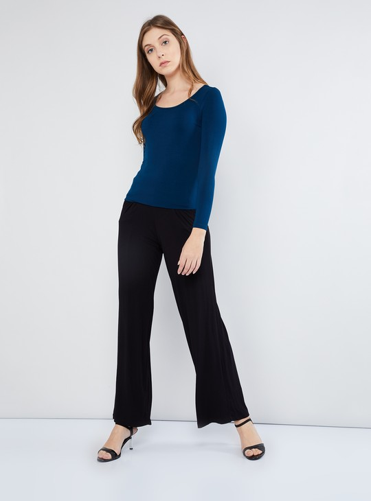 MAX Solid Tie-Up Waist Palazzos