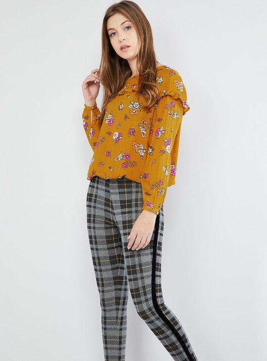 MAX Cuffed Sleeves Floral Print Top