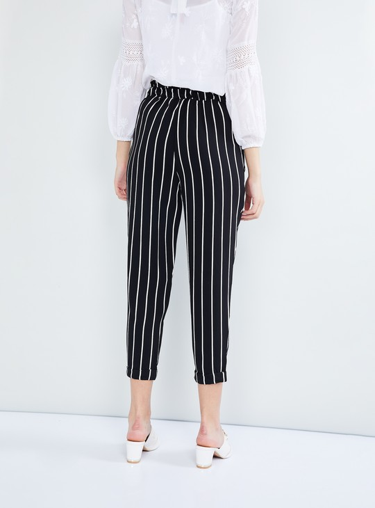 MAX Striped Tie-up Cropped Pants