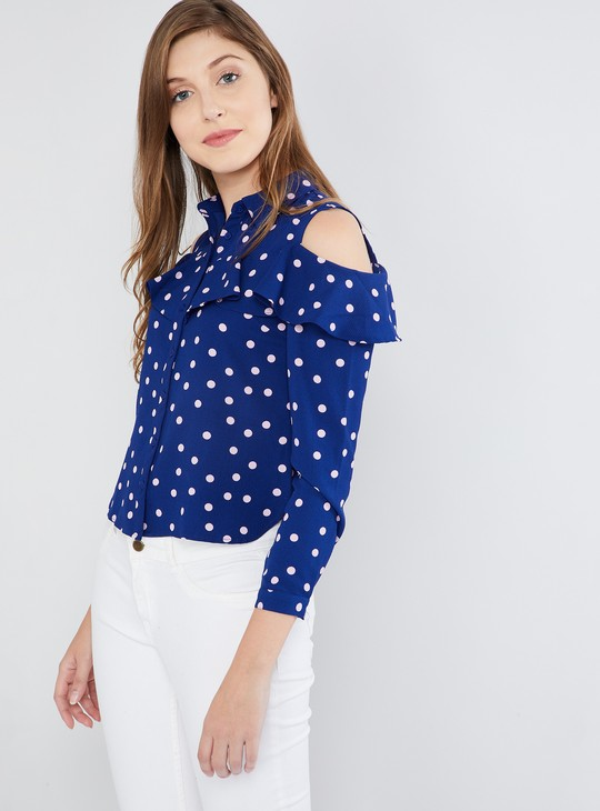 MAX Polka Print Cold-Shoulder Top