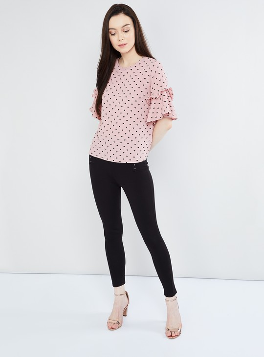 MAX Bell Sleeves Heart Print Top